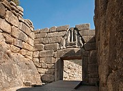 The Lion gate and main entrance to the citadel of Mycenae, Argolid, Peloponnese, Greece