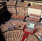 Aerial view of Piazza del Campo, Siena, Tuscany, Italy