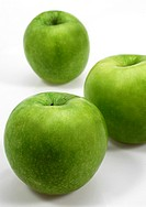 Granny Smith Apple, malus domestica, Fruits against White Background