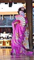 A Geisha dancing in the Setsubun Rituals at Yasaka Shine