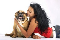English Bulldog with young woman