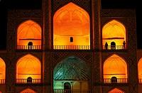 Night view of the Mir Chaqmaq facade, Yazd, Iran