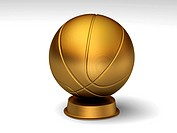 Golden basketball trophy