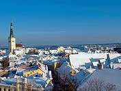 Fresh snow on roofs of old Tallinn