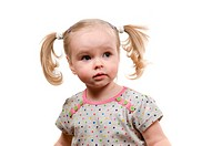 Baby with ponytails