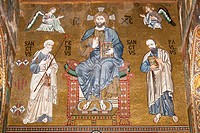 Jesus Christ, St Peter and St Paul mosaic, Cappella Palatina, Palazzo dei Normanni, Palermo, Sicily, Italy
