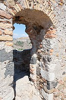 A doorway in the wall of Castelmola Castle, Castelmola, Sicily, Italy