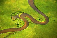 Pere Marquette River meandering through the estuary area on its way to Pere Marquette lake and Lake Michigan, Michigan, USA