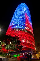 The Agbar Tower Torre Agbar by night, Barcelona, Catalonia, Spain