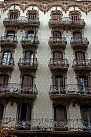 balconies, modernism, Barcelona, Catalonia, Spain.