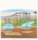 Datosaurus dinosaur habitat, artwork. Datosaurus sauropod dinosaurs feeding on trees and drinking from lakes on an open plain, with a volcano in the b...