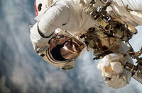 ISS space walk. Mission specialist Rick Linnehan during the third extravehicular activity EVA of mission STS_123 11th March to 27th March 2008. During...