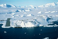 Antarctic research station. Aerial view of Rothera Station, a research base for the British Antarctic Survey on Adelaide Island off the coast of Graha...