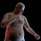 Heart attack. Conceptual computer artwork of an obese man having a heart attack.