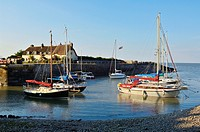 Yachts in the harbour at Porlock Weir in summer, Exmoor National Park, Somerset, England, United Kingdom