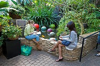 Two female high school art students drawing plants in the Conservatory at Franklin Park in Columbus, Ohio