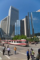 Modern Office Blocks and public tram, Calgary, Alberta, Canada