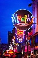 Row of Neon Signs, Beale Street, Memphis