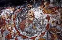 Painted ceiling inside the Sumela monastery, Trabzon Province, Turkey