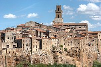 Panoramic view on a typical small medieval tuscany village with bell tower