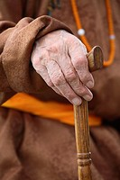 Detail of the hand holding a walking stick, Mongolia