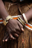 Detail of decorations of Datooga woman, Tanzania