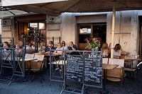 People Eating on Restaurant Terrace at Campo de Fiori, Rome, Italy