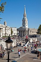 St Martin in the Fields Church and Trafalgar Square, London, England