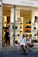 Shoes store at Via Giuseppe Manno, a pedestrian street with many shops, Cagliari, Sardinia, Italy