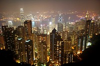 aerial view of hong kong island at night from the peak, hksar, china
