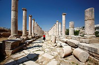 The Colonnaded street at the North Tetrapylon, Jerash Jordan
