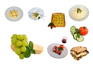 Food _ Mediterranean cuisine mix of foods isolated on white background.