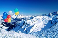 France, Alps, La Plagne, balloons