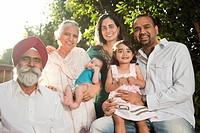 Smiling multi_generation Asian family