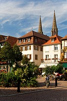 France, Alsace, Obernai, town hall and the church