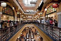 Australia, New South Wales, Sydney, Shoppers crowd into three floors of walkways inside Queen Victoria Building