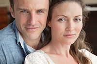Close up of serious couple