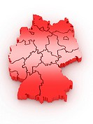 Three_dimensional map of Germany on white isolated background. 3d