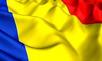 Flag of Romania. Close up. Front view.