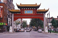 Canada, Quebec, Montreal, Chinatown Quartier Chinois, paifang on Saint Laurent Boulevard.