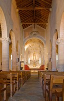 France, Corsica. Interior of Cathedral of Nebbio church of Santa Maria Assunta near St. Florent. Cathedral was built by Pisans in 12th Century.