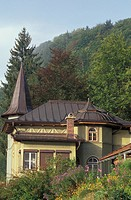 Germany, Berchtesgaden. Quaint German home on hillside