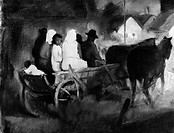 IVANYI-GRÜNWALD: WAGON. 'Home Coming.' Hungarian villagers riding in a horse-drawn wagon. Painting by Béla Iványi-Grünwald, early 20th century.