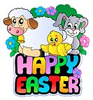 Happy Easter sign with animals _ color illustration.