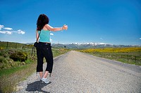 hitch-hiking woman at Gredos mountains in Avila Spain