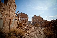 historic ruins of the old town Belchite  Spanish Civil War  Aragon  Zaragoza  Spain
