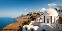 Church Dome Fira Thira Santorini Cyclades Islands Greece