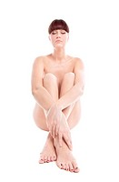Beauty niked woman sit on white