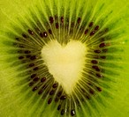 Fruit cut _ kiwi forming a heart