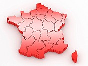 Three_dimensional map of France on white isolated background. 3d
